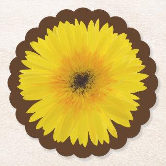 Yellow Gerbera Scalloped Round Paper Coaster