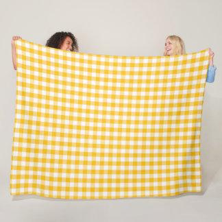 Yellow Gingham Check Pattern Fleece Blanket