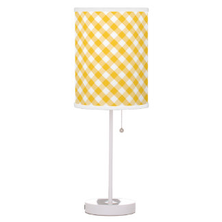 Yellow Gingham Check Pattern Table Lamp