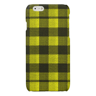 Yellow Gingham Checkered Pattern Burlap Look