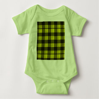 Yellow Gingham Checkered Pattern Burlap Look Baby Bodysuit