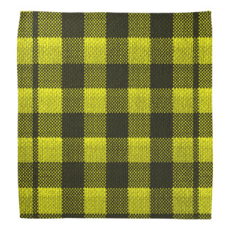 Yellow Gingham Checkered Pattern Burlap Look Bandana