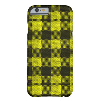 Yellow Gingham Checkered Pattern Burlap Look Barely There iPhone 6 Case