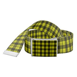 Yellow Gingham Checkered Pattern Burlap Look Belt