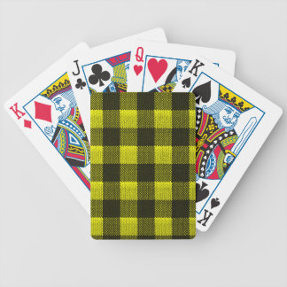 Yellow Gingham Checkered Pattern Burlap Look Bicycle Playing Cards