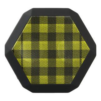 Yellow Gingham Checkered Pattern Burlap Look Black Bluetooth Speaker
