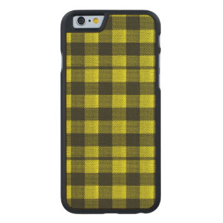 Yellow Gingham Checkered Pattern Burlap Look Carved Maple iPhone 6 Case
