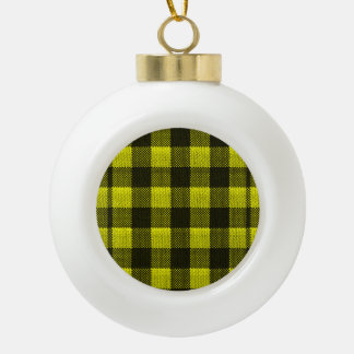 Yellow Gingham Checkered Pattern Burlap Look Ceramic Ball Ornament