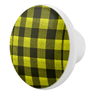 Yellow Gingham Checkered Pattern Burlap Look Ceramic Knob