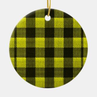 Yellow Gingham Checkered Pattern Burlap Look Ceramic Ornament