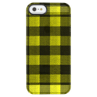 Yellow Gingham Checkered Pattern Burlap Look Clear iPhone SE/5/5s Case
