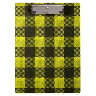 Yellow Gingham Checkered Pattern Burlap Look Clipboard