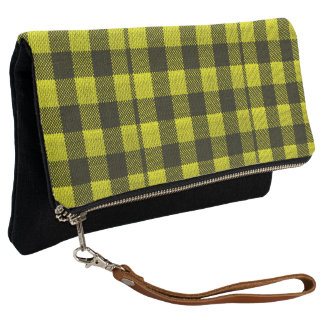 Yellow Gingham Checkered Pattern Burlap Look Clutch