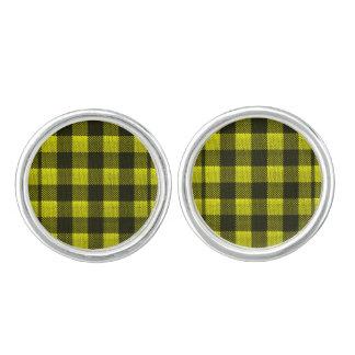 Yellow Gingham Checkered Pattern Burlap Look Cufflinks