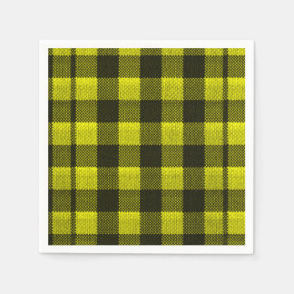 Yellow Gingham Checkered Pattern Burlap Look Disposable Napkins
