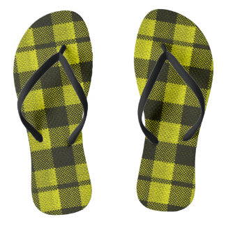 Yellow Gingham Checkered Pattern Burlap Look Flip Flops