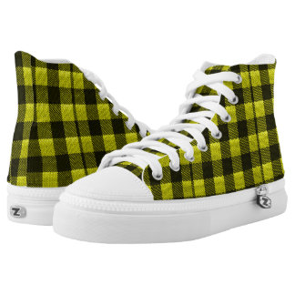 Yellow Gingham Checkered Pattern Burlap Look High Tops