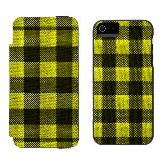Yellow Gingham Checkered Pattern Burlap Look Incipio Watson™ iPhone 5 Wallet Case