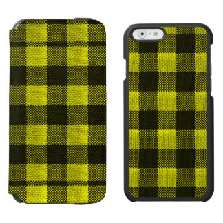 Yellow Gingham Checkered Pattern Burlap Look Incipio Watson™ iPhone 6 Wallet Case