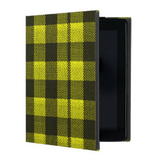 Yellow Gingham Checkered Pattern Burlap Look iPad Folio Case