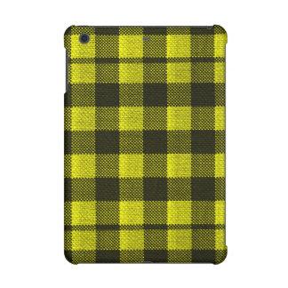 Yellow Gingham Checkered Pattern Burlap Look iPad Mini Retina Covers