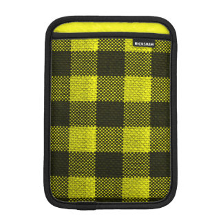 Yellow Gingham Checkered Pattern Burlap Look iPad Mini Sleeve