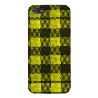 Yellow Gingham Checkered Pattern Burlap Look iPhone 5/5S Covers