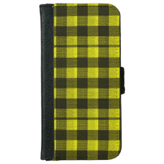 Yellow Gingham Checkered Pattern Burlap Look iPhone 6 Wallet Case