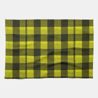 Yellow Gingham Checkered Pattern Burlap Look Kitchen Towel