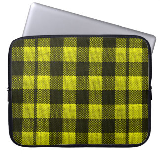 Yellow Gingham Checkered Pattern Burlap Look Laptop Sleeve