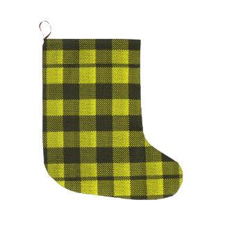 Yellow Gingham Checkered Pattern Burlap Look Large Christmas Stocking