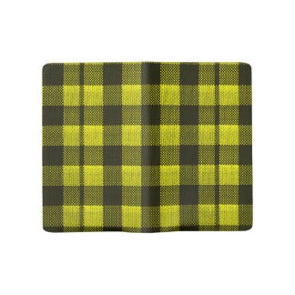 Yellow Gingham Checkered Pattern Burlap Look Large Moleskine Notebook
