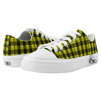 Yellow Gingham Checkered Pattern Burlap Look Low-Top Sneakers