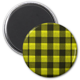 Yellow Gingham Checkered Pattern Burlap Look Magnet
