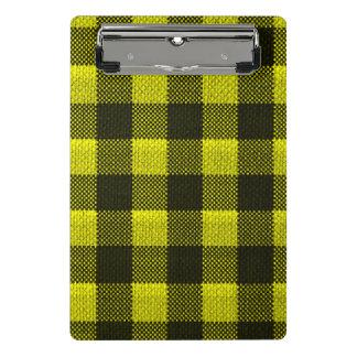 Yellow Gingham Checkered Pattern Burlap Look Mini Clipboard