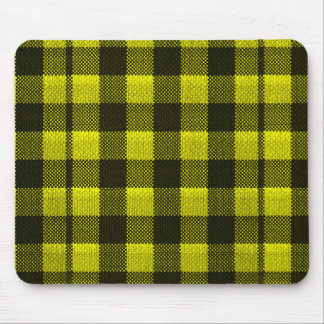 Yellow Gingham Checkered Pattern Burlap Look Mouse Pad