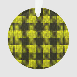 Yellow Gingham Checkered Pattern Burlap Look Ornament