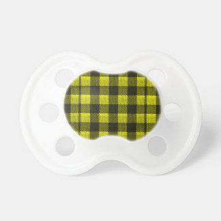 Yellow Gingham Checkered Pattern Burlap Look Pacifier