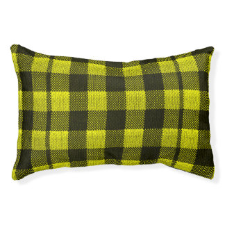 Yellow Gingham Checkered Pattern Burlap Look Pet Bed