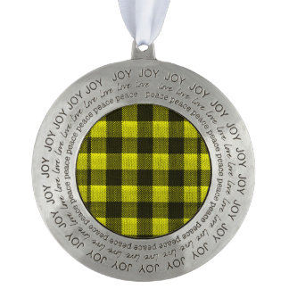 Yellow Gingham Checkered Pattern Burlap Look Pewter Ornament