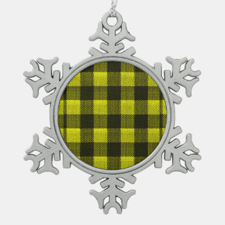 Yellow Gingham Checkered Pattern Burlap Look Pewter Snowflake Ornament