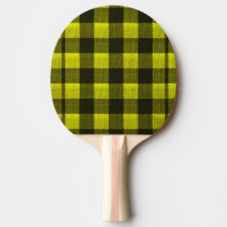 Yellow Gingham Checkered Pattern Burlap Look Ping Pong Paddle