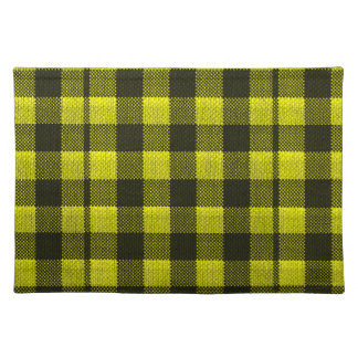 Yellow Gingham Checkered Pattern Burlap Look Placemat