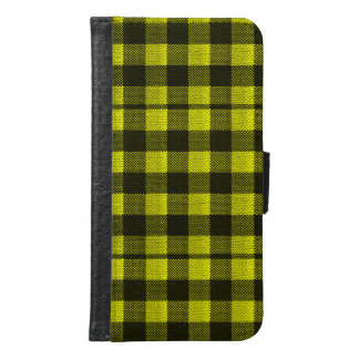 Yellow Gingham Checkered Pattern Burlap Look Samsung Galaxy S6 Wallet Case