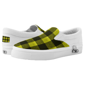 Yellow Gingham Checkered Pattern Burlap Look Slip-On Sneakers