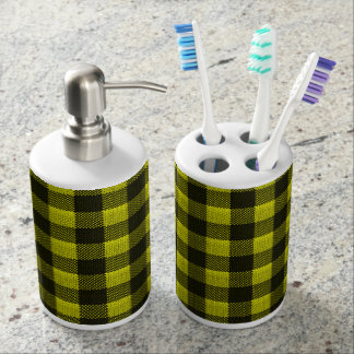 Yellow Gingham Checkered Pattern Burlap Look Soap Dispenser And Toothbrush Holder