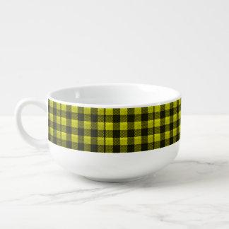 Yellow Gingham Checkered Pattern Burlap Look Soup Mug