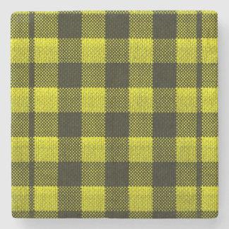 Yellow Gingham Checkered Pattern Burlap Look Stone Coaster