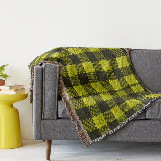 Yellow Gingham Checkered Pattern Burlap Look Throw Blanket