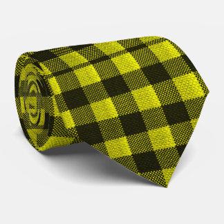 Yellow Gingham Checkered Pattern Burlap Look Tie